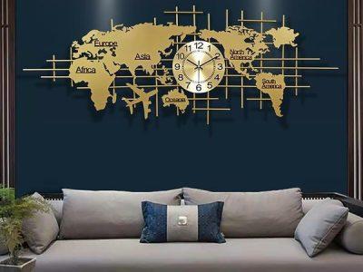 đồng hồ tranh bản đồ thế giới